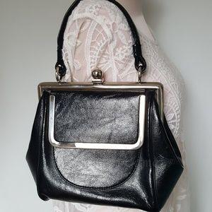 Vintage black leather kiss lock handbag purse 50s